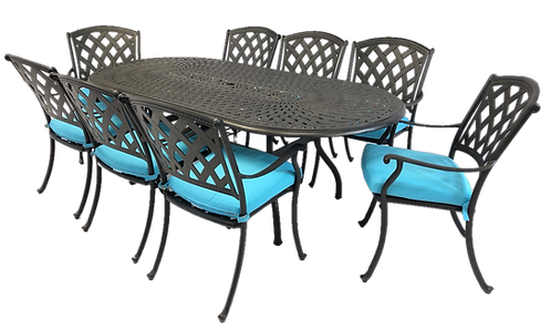 Mirage Dining 9 Piece set (with oval table)
