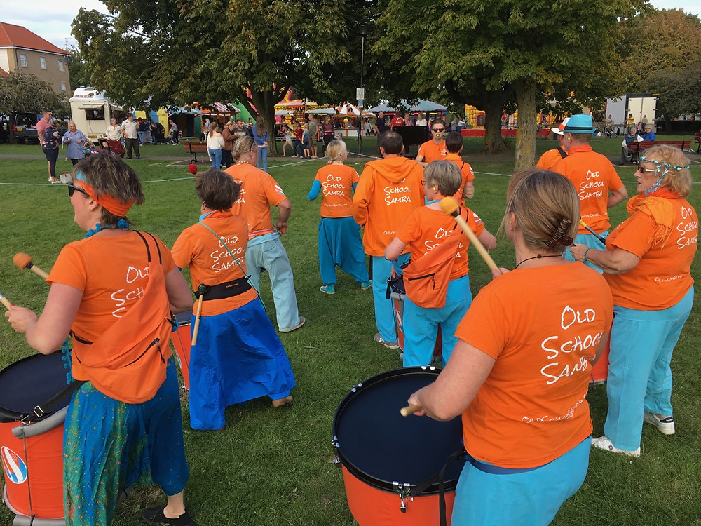 Old School Samba performing in the event arena at the Aylesham Carnival