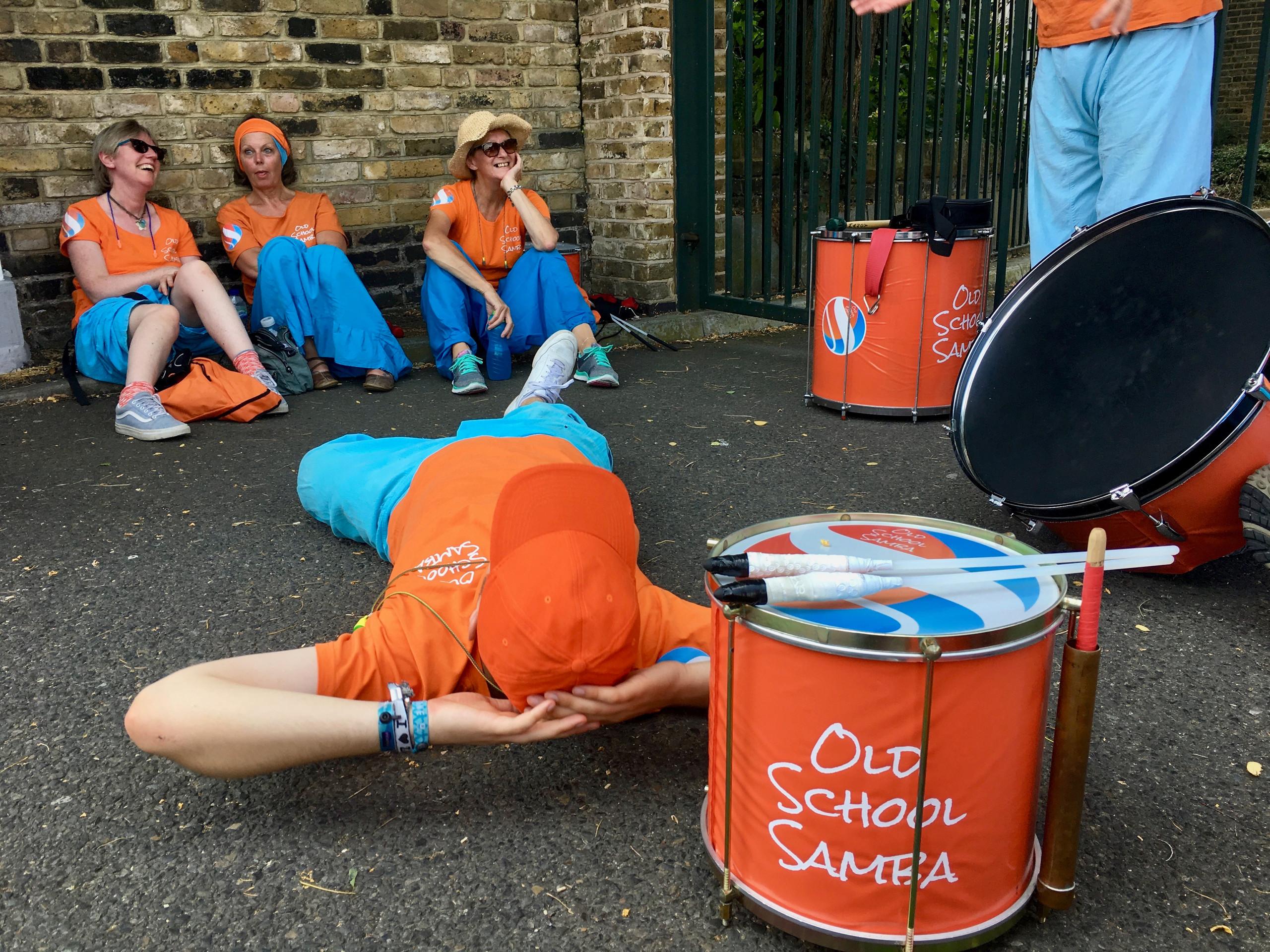 Old School Samba taking a break at the Northfleet Carnival