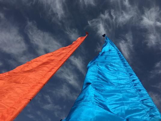 The Old School Samba festival flags