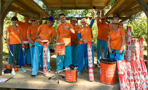 Old School Samba on the bandstand with the workshop instruments