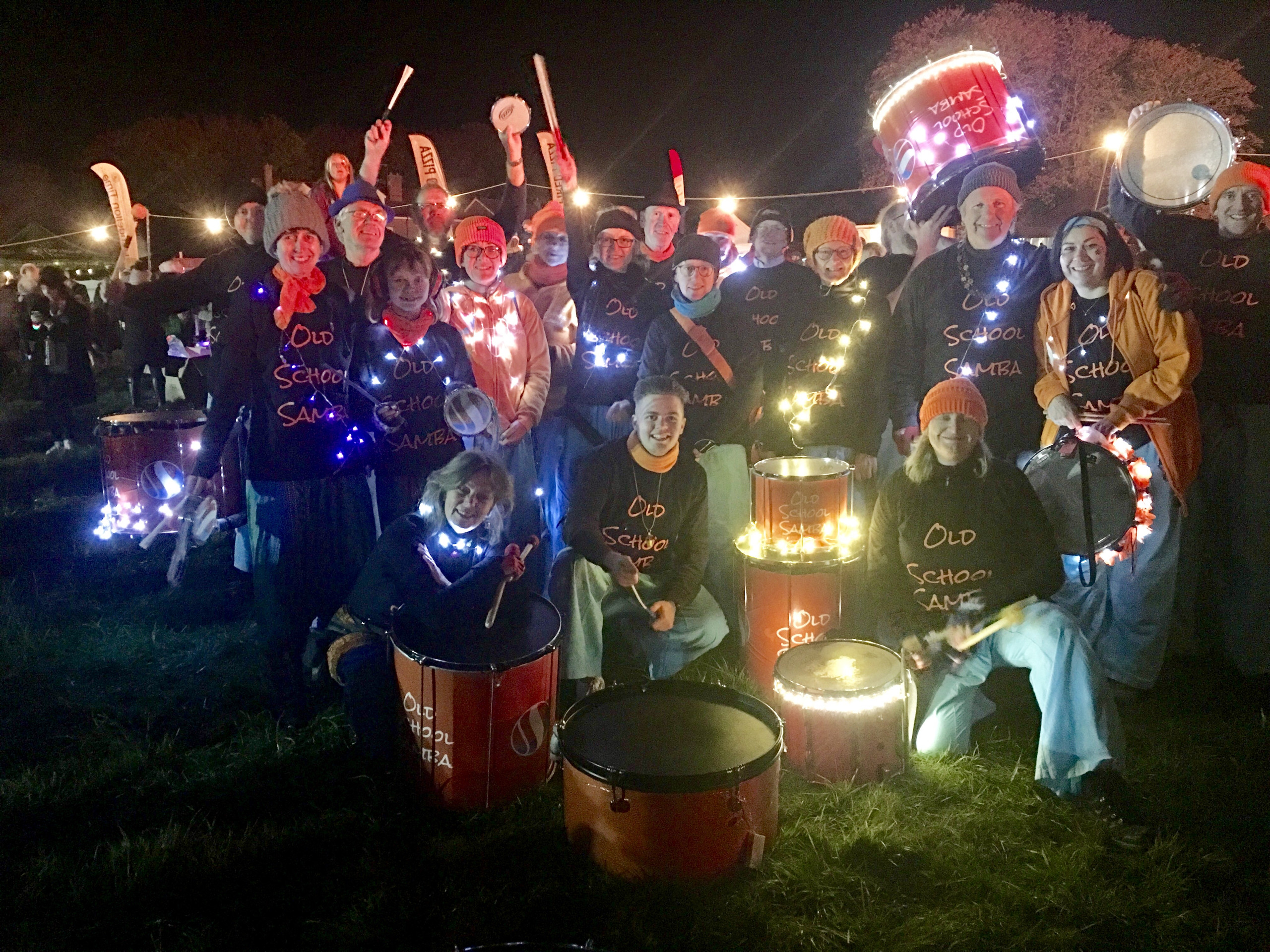 Group shot of Old School Samba a the West Farleigh Fireworks