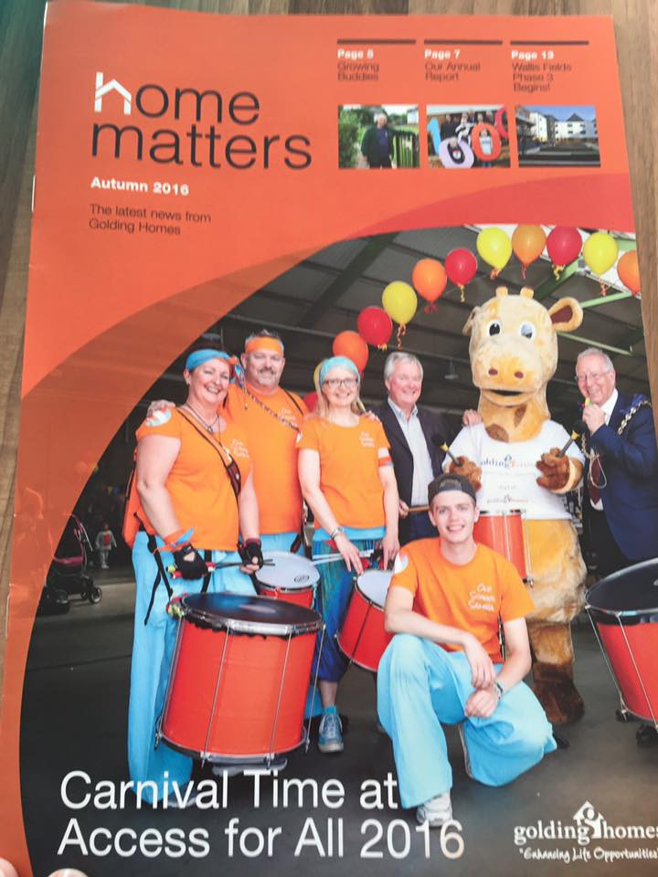 Golding Homes Autumn 2016 Magazine cover with Old School Samba Band from Kent