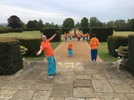 Old School Samba band in the gardens of Eastwell Manor for a Big Cat Sanctuary Fundraiser event
