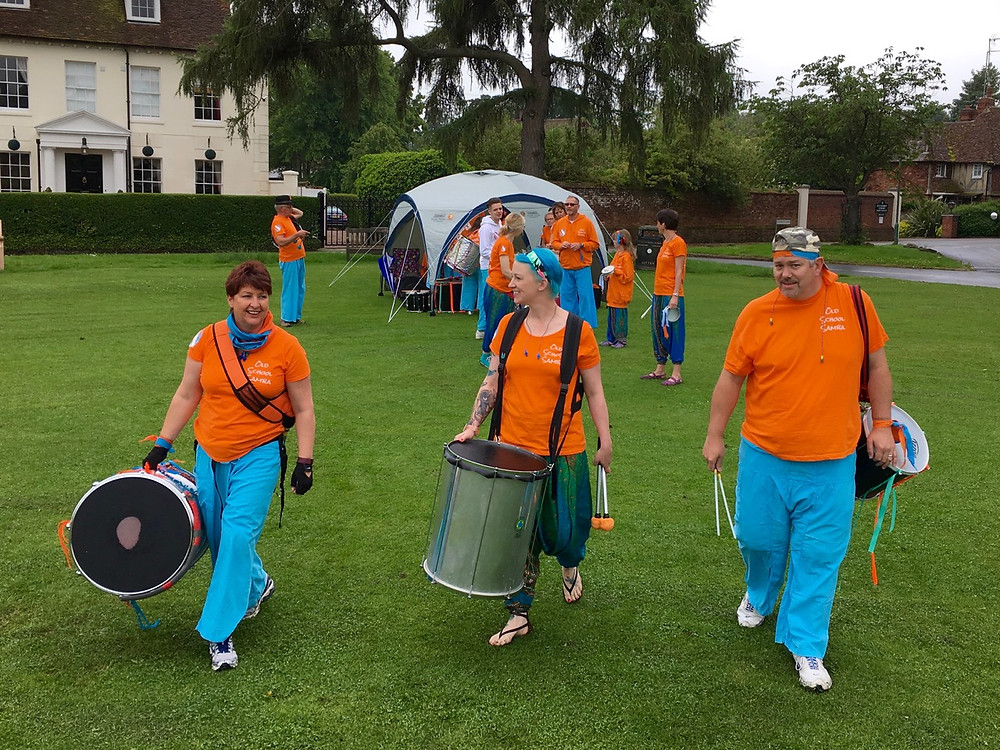 Old School Samba getting ready to play at Picnic on the Green
