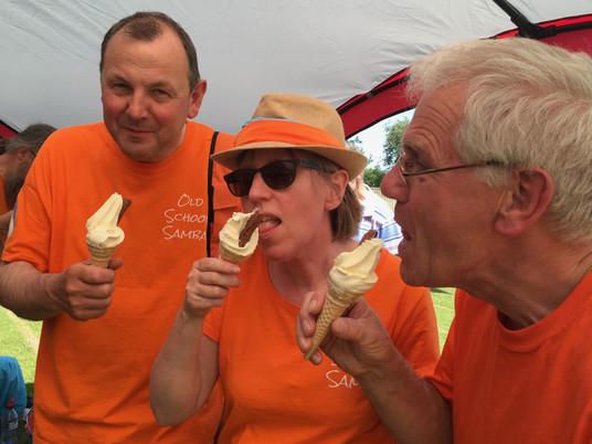 Old School Samba enjoying ice-creams at the Palace Wood Festival