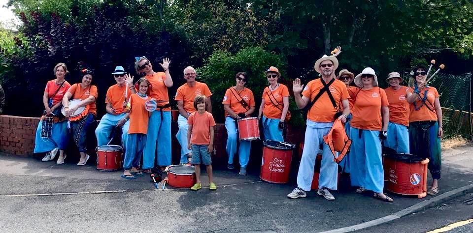 Old School Samba parading at the Paddock Wood Carnival