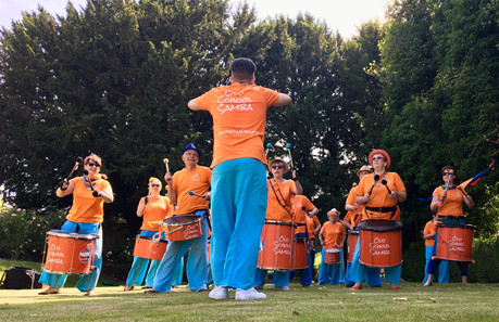 Old School Samba band playing on the lawn at Smith's Hall