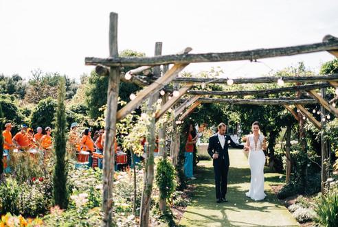 Old School Samba performing at a wedding at The Gardens in Yalding
