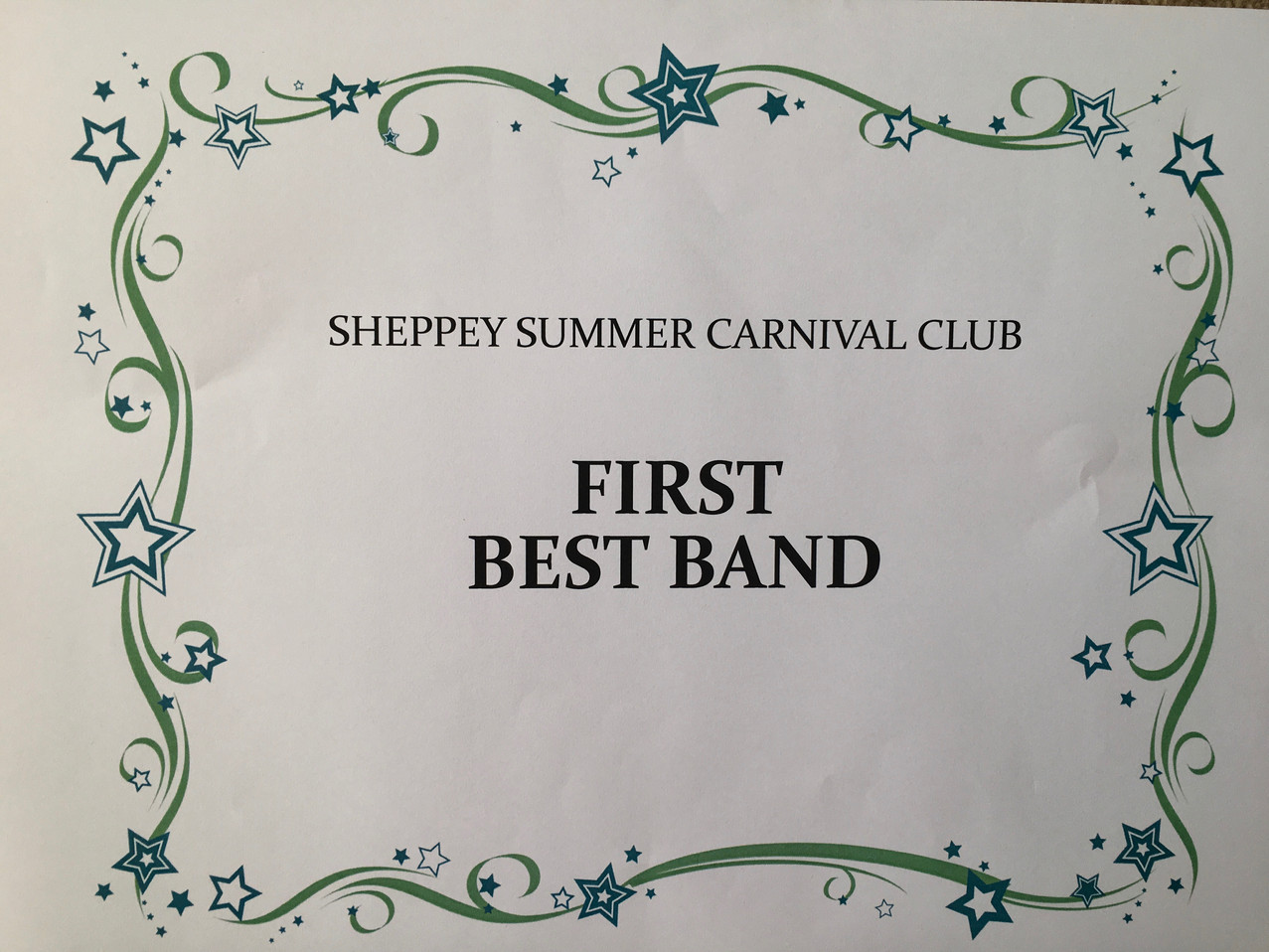 Old School Samba's first prize for best band certificate at Sheppey Carnival 2019
