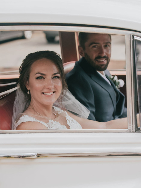 Alison driving on her wedding