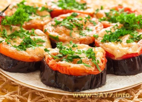 Баклажаны, запеченные с томатами, сыром и беконом
