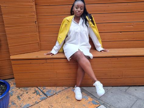 Summer fit- shirt dress and yellow jacket