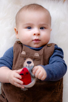baby with christmas robin decoration