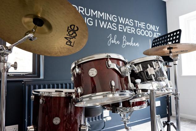 Drumkit in music room.