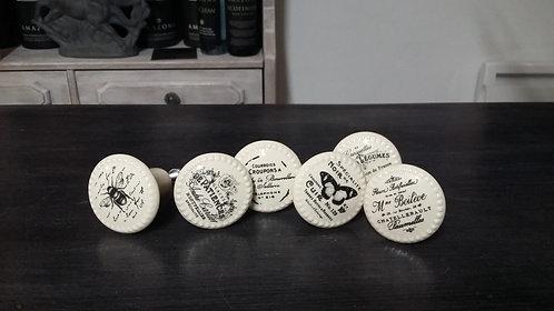 Set de 6 boutons de porte French Maison blanc cassé