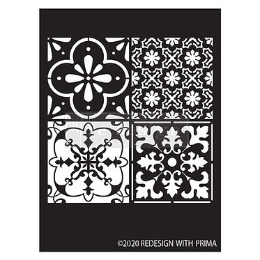 Coastal tiles, pochoir Redesign