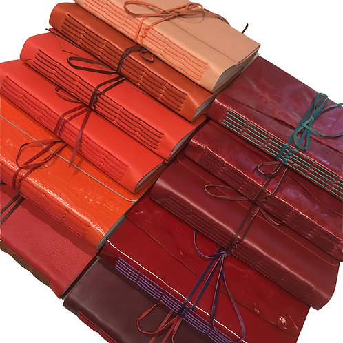 leather notebook - A5: orange, red & maroon