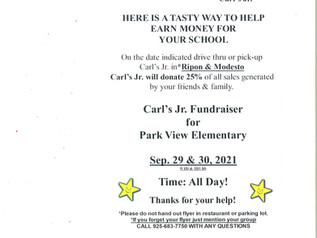 Carl's Jr. Fundraiser - 9/29 & 9/30