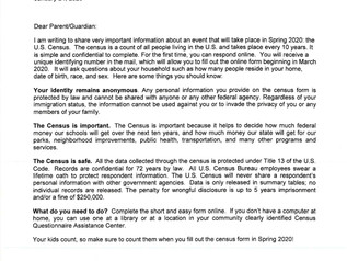 Please Read - Census Spring 2020 Info.