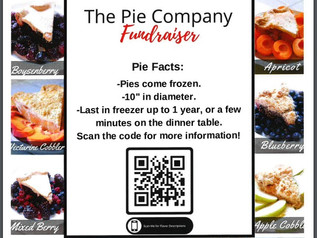 The Pie Company fundraiser 10/11-11/5/21. Pie pick up on 11/16,  2:00-6:30p