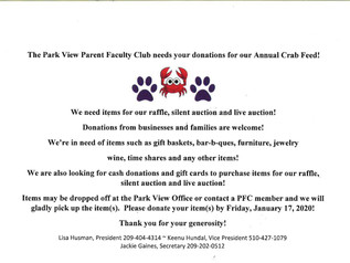 Donations for Annual Crab Feed -
