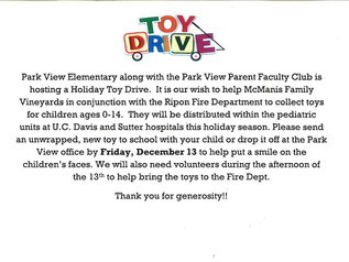 Toy Drive through Friday, December 13
