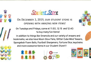 Student Store Opens 12/3/19