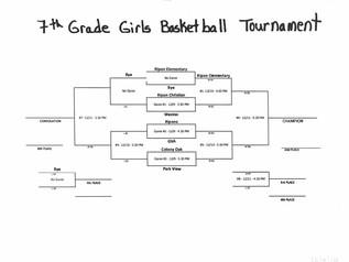 Girls Basketball Tournament Schedule -7th Grade