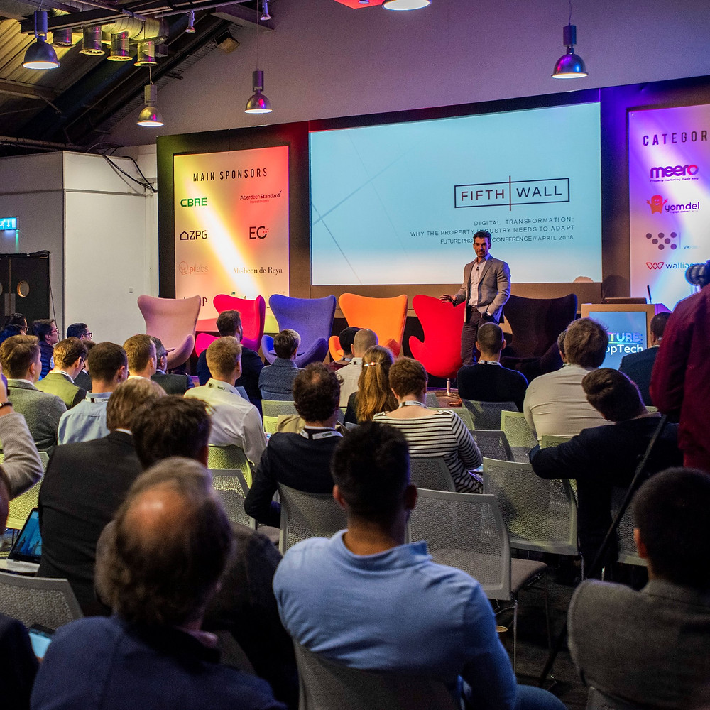 Brendan Wallace, co-Founder of VC Fifth Wall speaking at FUTURE Proptech 2018
