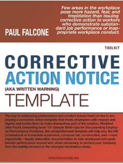 Corrective Action Notice (AKA Written Warning) Template