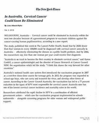 Delmar Pediatrics PLLC Shares a NYT Article About Australia Working to Eliminate Cervical Cancer