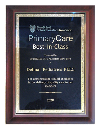 Delmar Pediatrics PLLC recognized by BlueShield of Northeastern New York