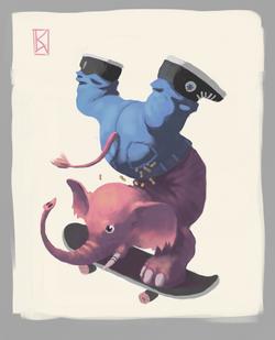 Skate Elefant farbe