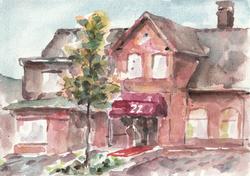 watercolor building