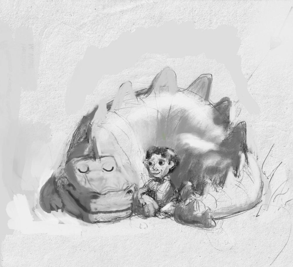 Skizze Dino Freunde