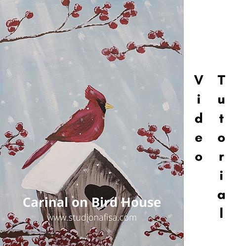 Cardinal on Bird House - Acrylic Painting