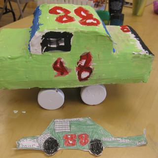 Car model using paper maiche