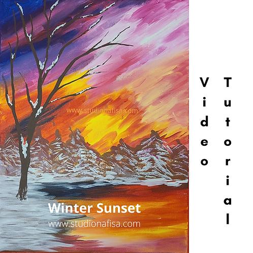 Winter Sunset - Acrylic Painting Tutorial