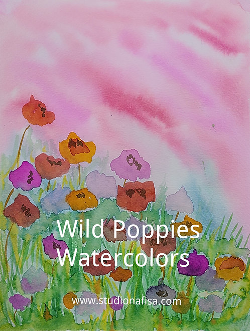 Wild Poppies with Watercolors Video Recording