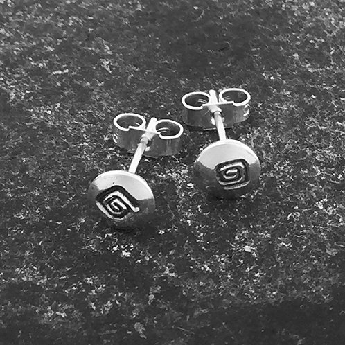 Small Square Spiral design stud earrings in sterling silver.