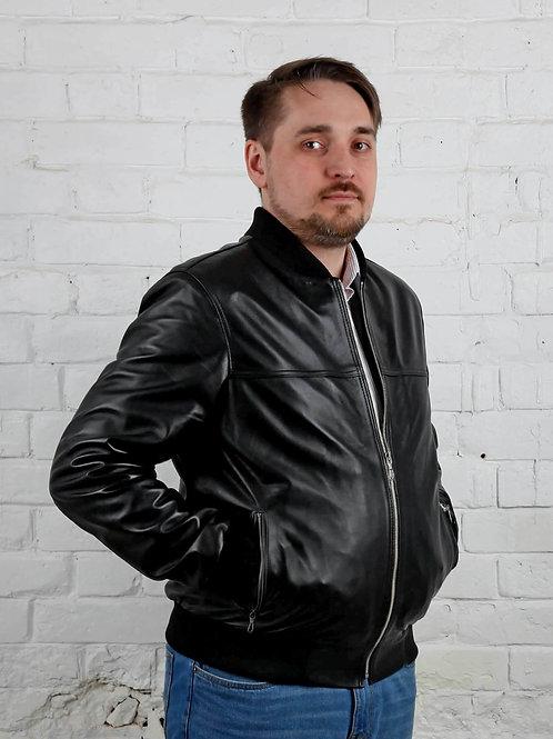 кожаная куртка бомбер мужская