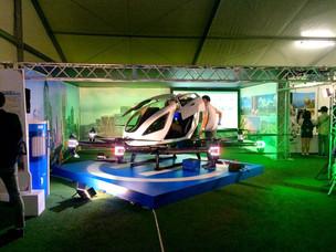 EHANGの「空飛ぶクルマ」の展示会場