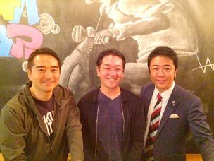 「明星和楽」の前夜祭で福岡、つくば両市長と。