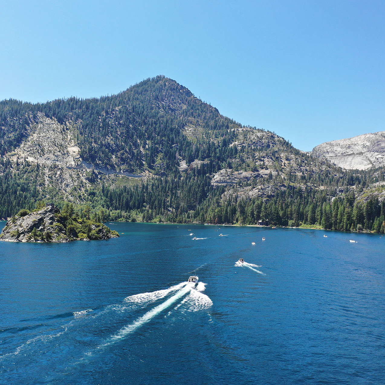 Enjoying the historical stories and views of Emerald Bay.