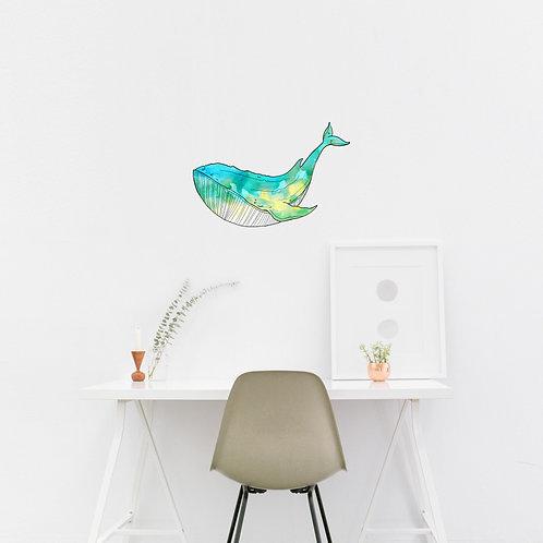 Wall Art - Small Whale Sticker #1