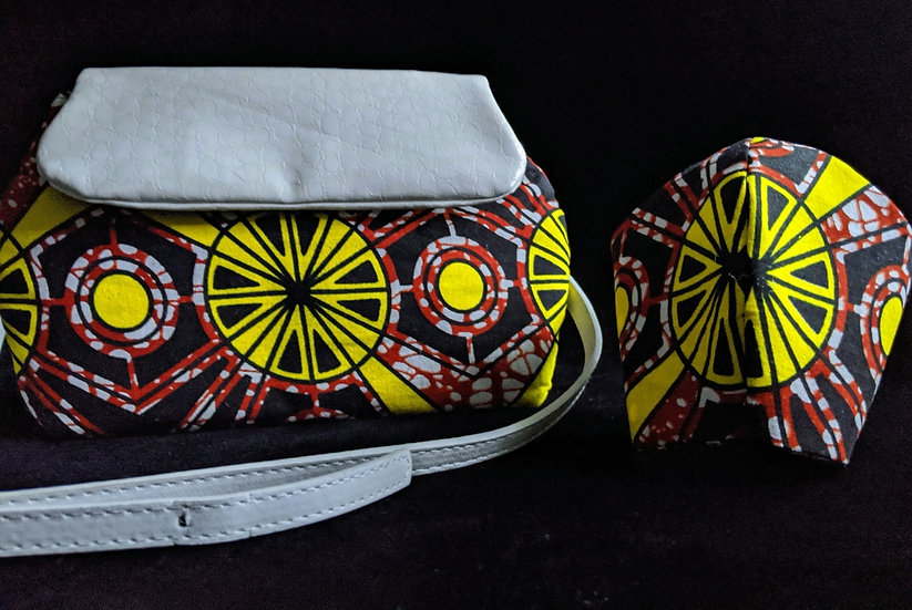 Red Citrus Ankara Dileyas with Mask