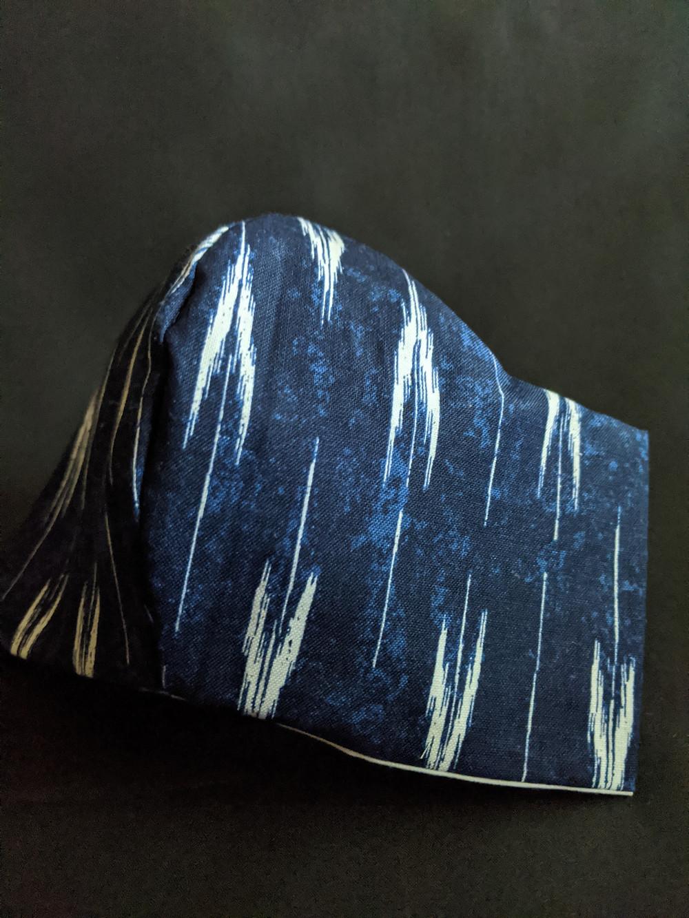 Blue Dark blue, black, white Ikat face mask