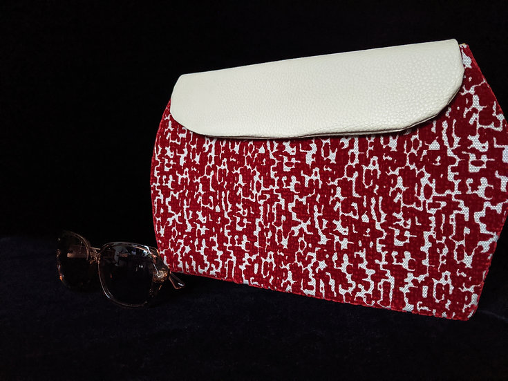 Red Chenille Snakeskin Haberry Clutch