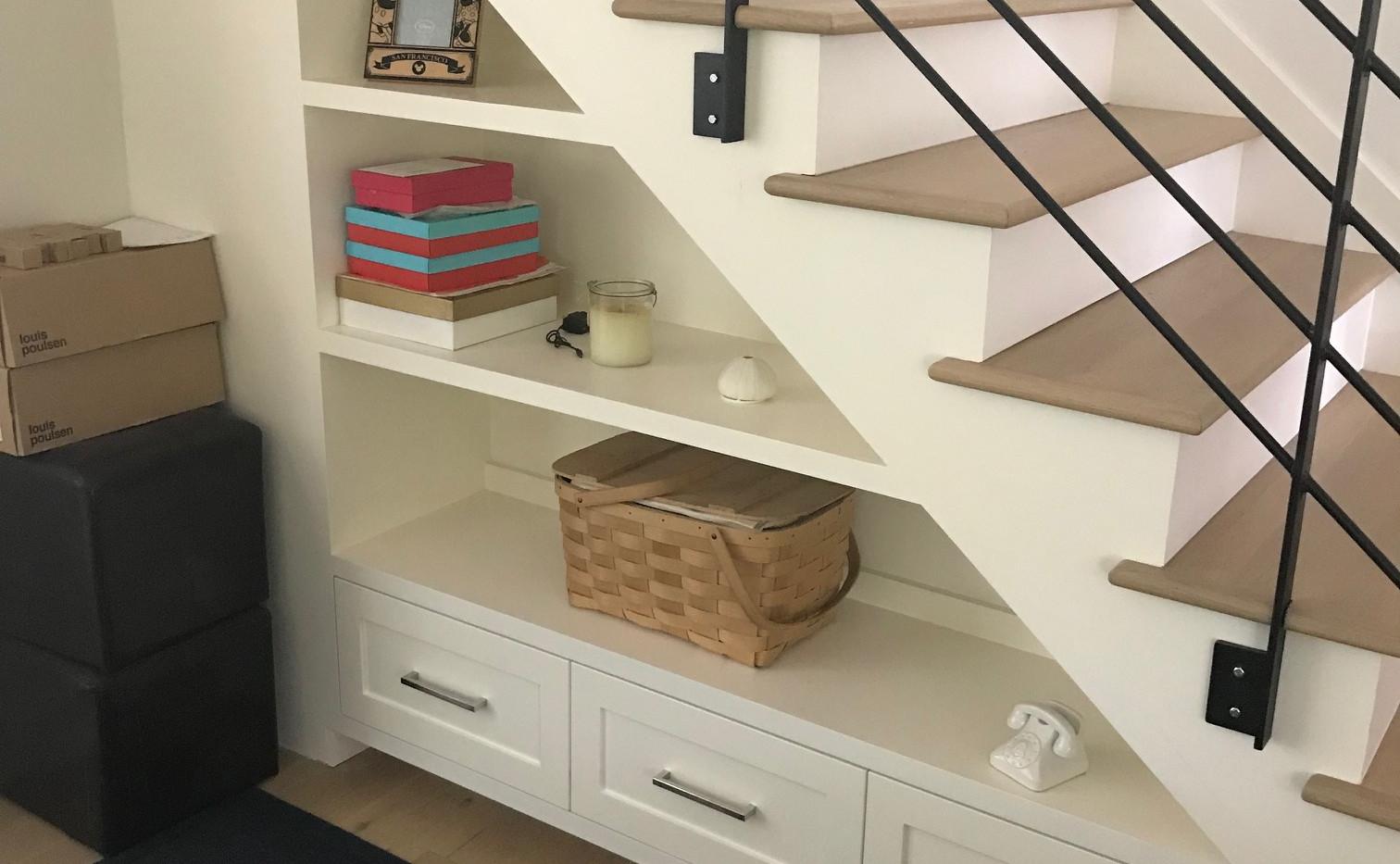 Custom Storage Drawers under Staircase